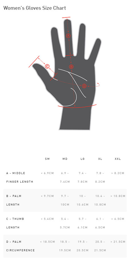 Specialized Women's LoDown Glove Size Chart