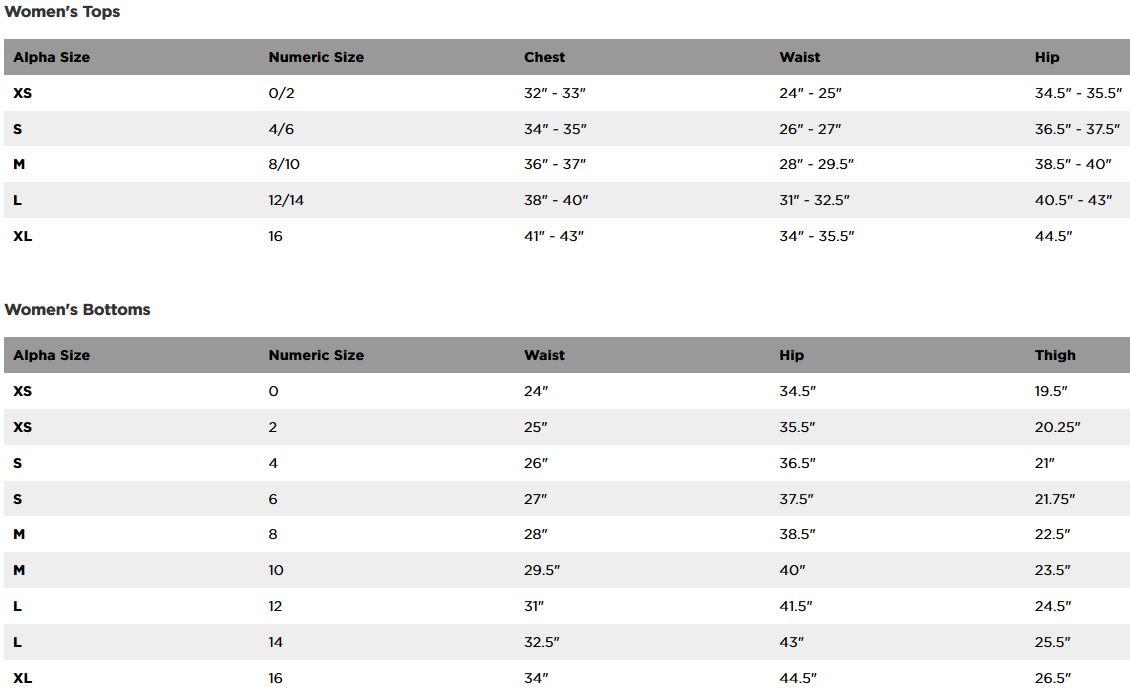 Fox Racing women's sizing chart