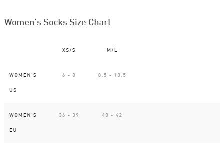 Specialized Women's SL Mid Socks Size Chart