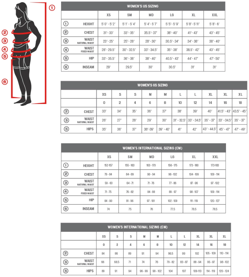 Specialized women's clothing sizing chart