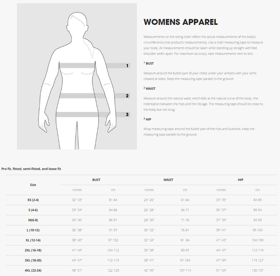 Trek Women's T-Shirt sizing chart