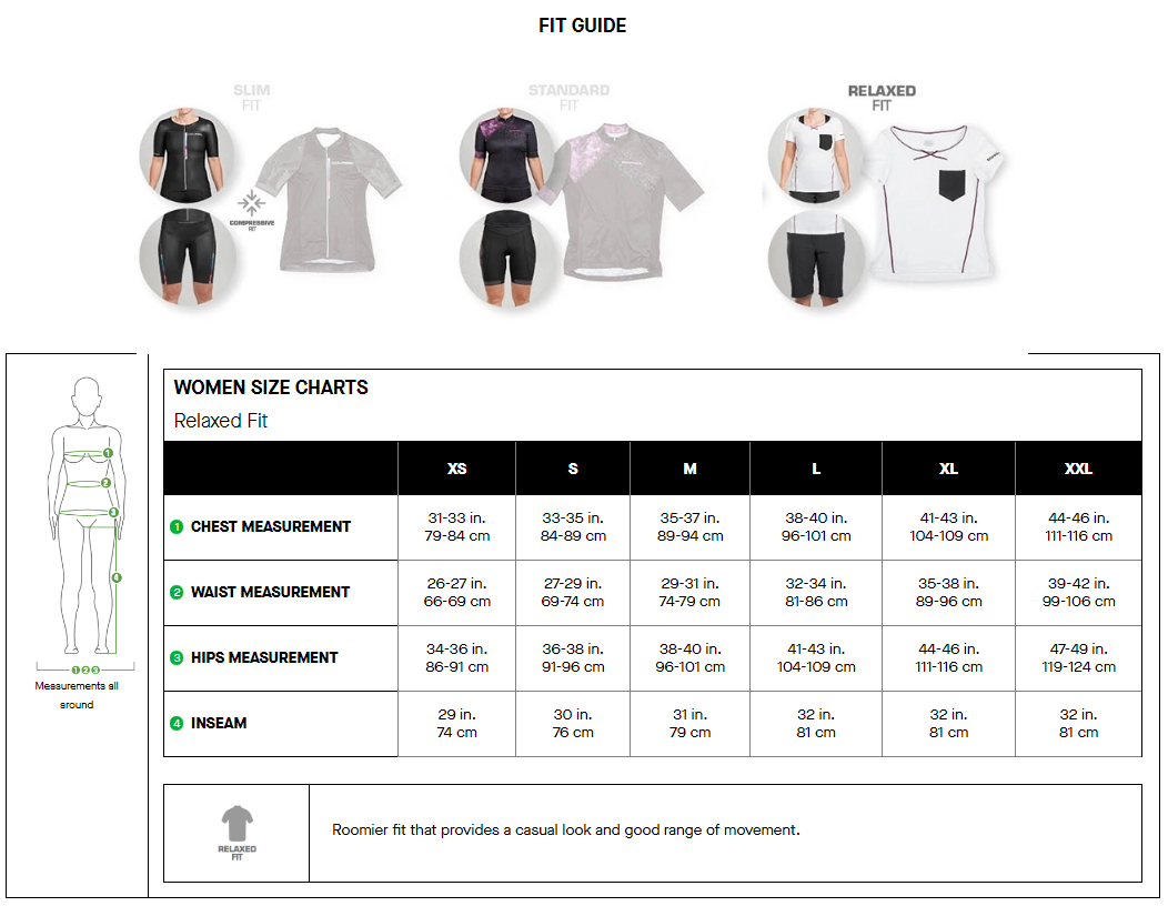 Louis Garneau women's relaxed fit sizing chart