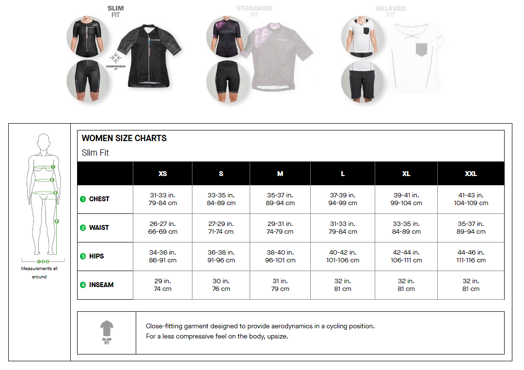 Louis Garneau women's slim fit sizing chart