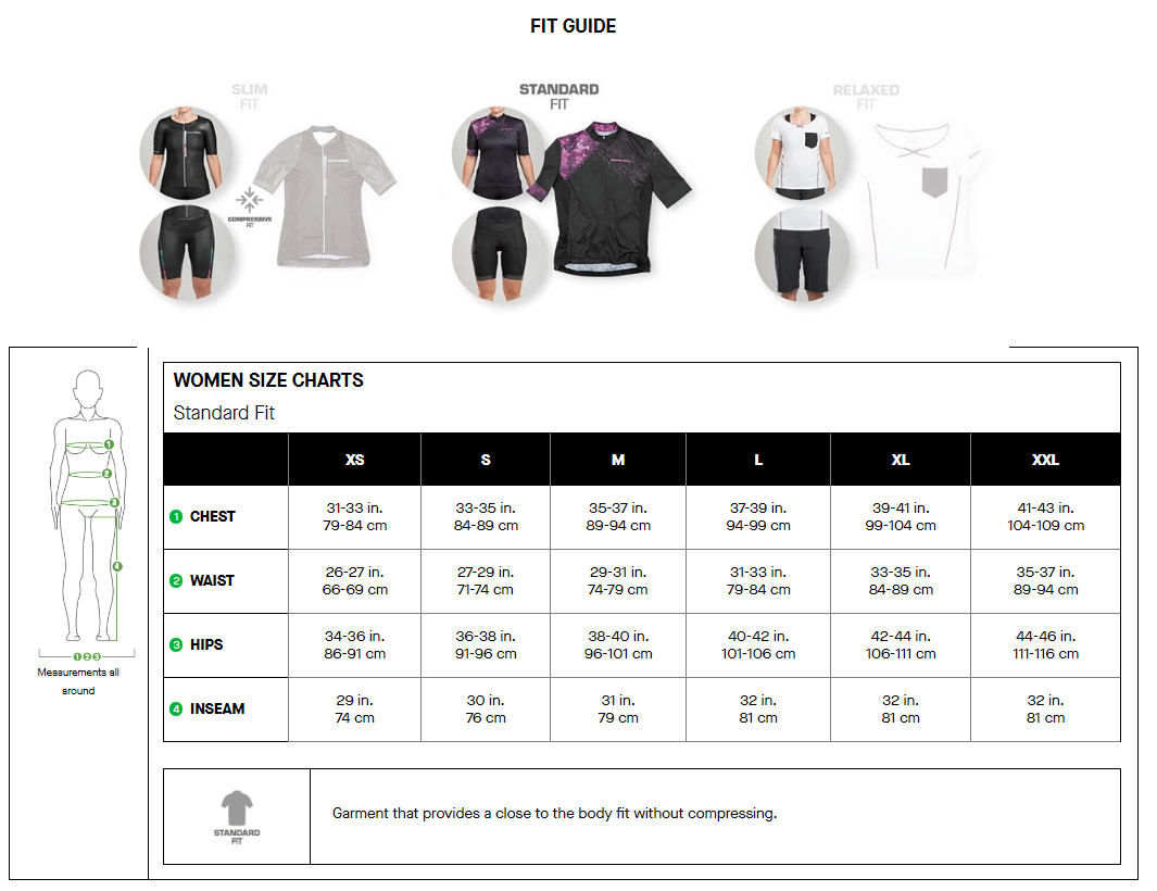 Louis Garneau women's standard fit sizing chart