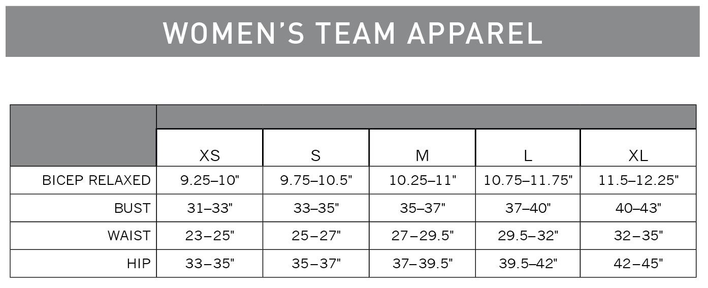 Pearl Izumi Women's Team Apparel sizing chart