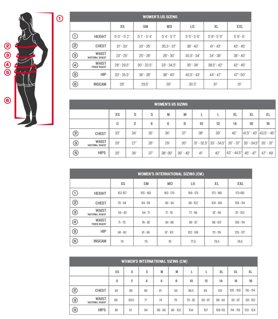 Specialized women's apparel sizing chart