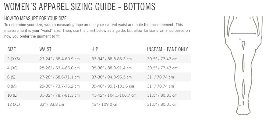 Giro Women's bottoms sizing guide