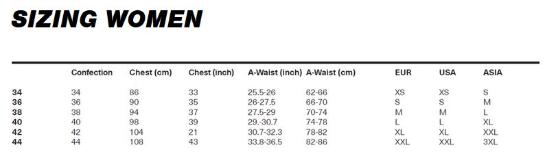 iXS Women's clothing size chart