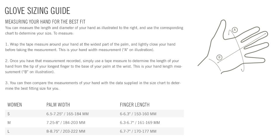 Giro Women's glove sizing chart