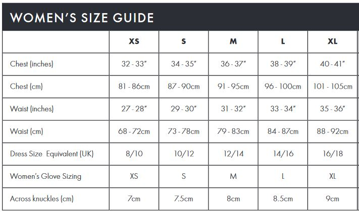 Endura Women's size guide