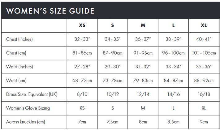 Endura Women's size guide