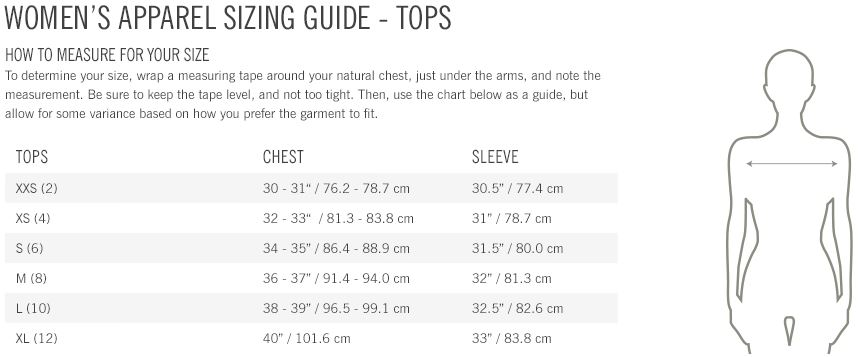 Giro Women's tops sizing guide