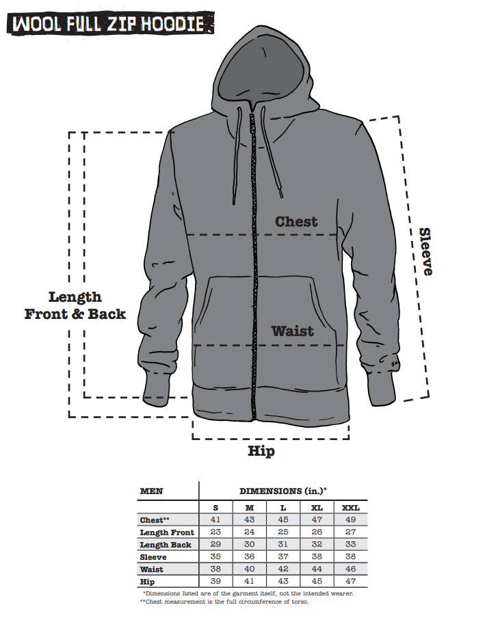 Surly Wool Hoodie sizing chart