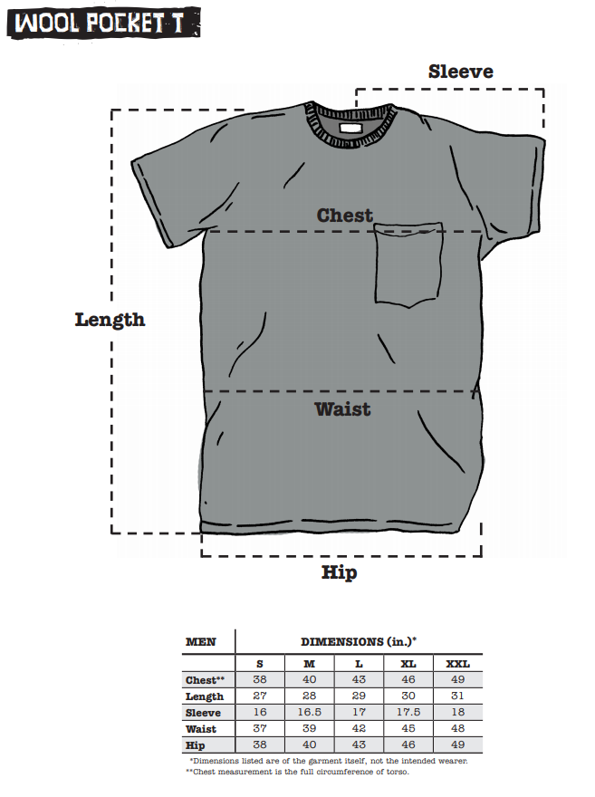 Surly Wool Pocket Tee sizing chart