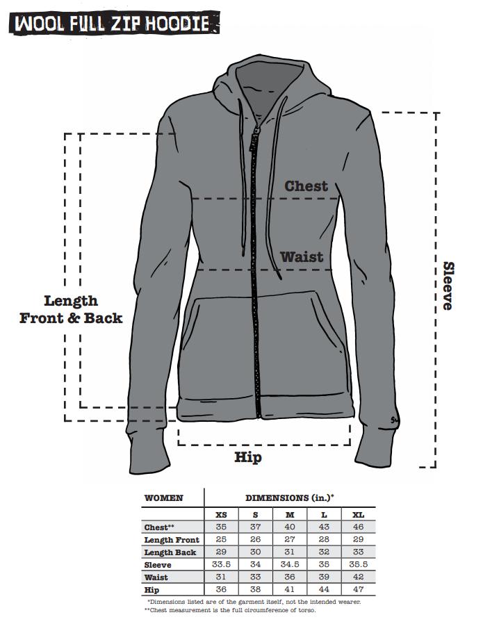 Women's Hoode sizing chart