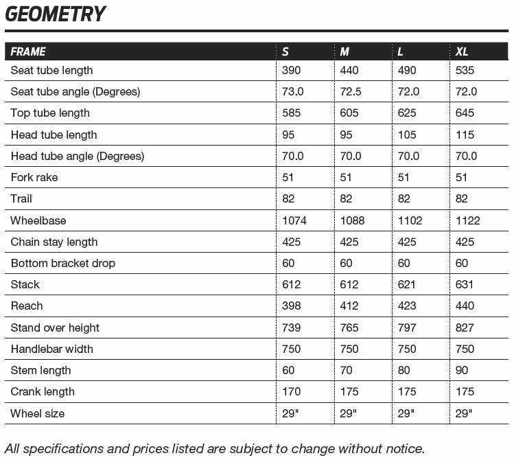 Giant XTC Advanced 29er geometry chart
