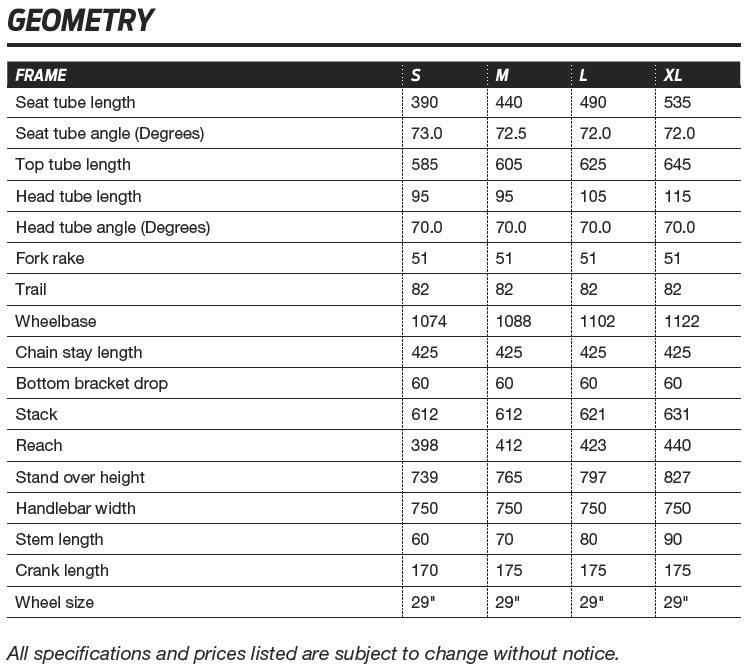 Giant XTC Advanced 29er geometry chart