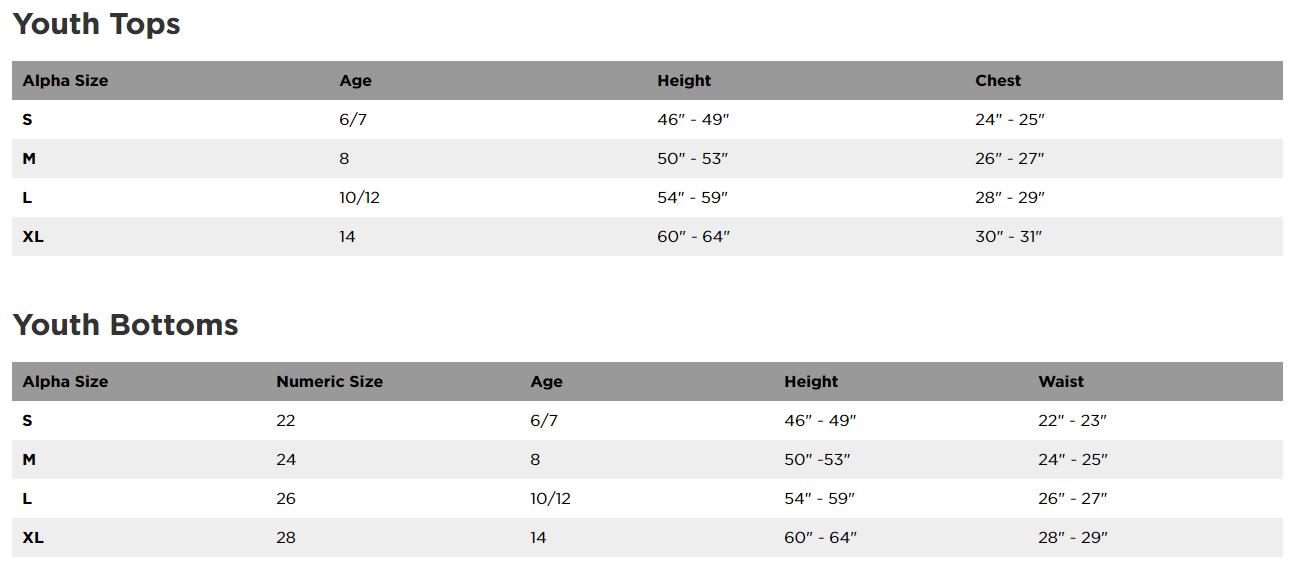 Fox Racing Youth clothing sizing chart