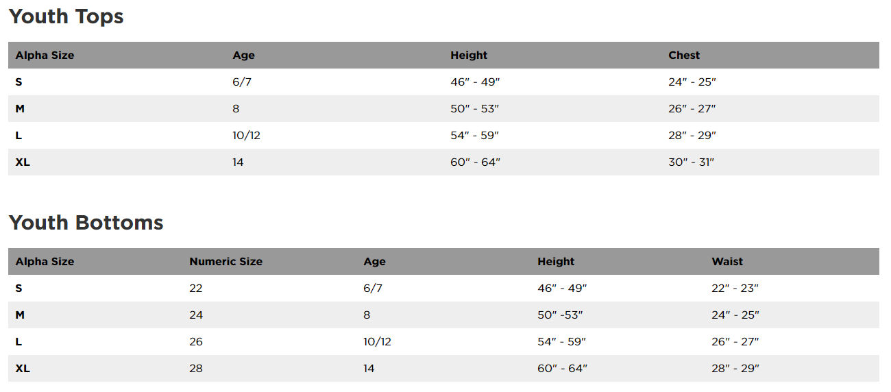 Fox Racing Youth clothing sizing chart
