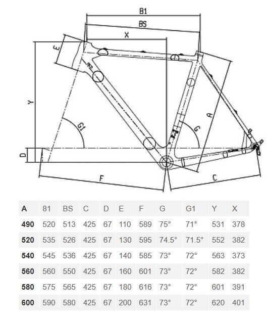 Bianchi Zolder Disc geometry chart