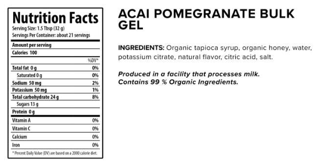 Honey Stinger Organic Energy Gel nutritional information