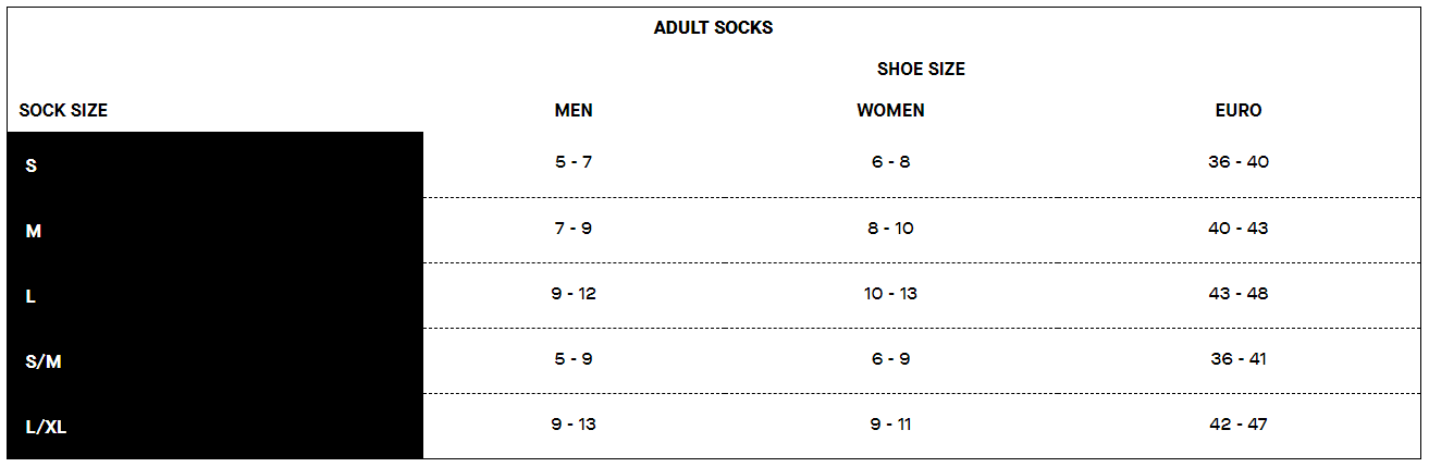 Louis Garneau sock sizing chart
