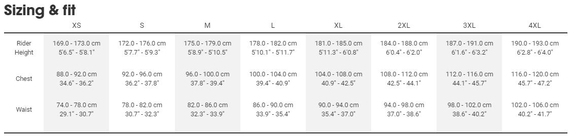 All City apparel sizing chart