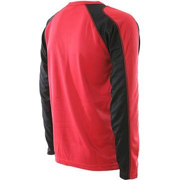Back view of the Bellwether The Bellwether Action-T Long Sleeve Jersey in Cardinal.
