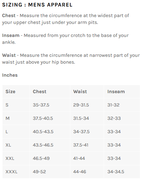 Bellwether men's sizing chart
