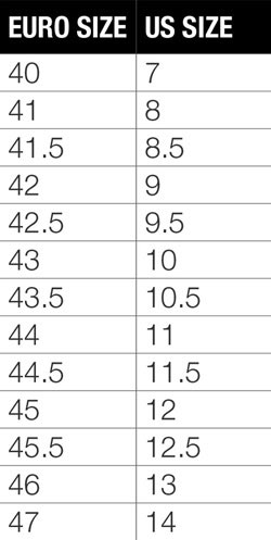 Bontrager men's shoe size chart