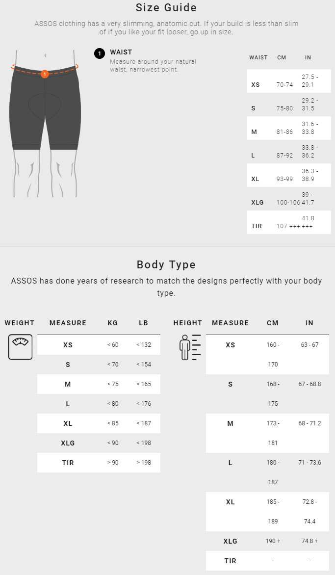 Assos Men's Bottoms sizing chart