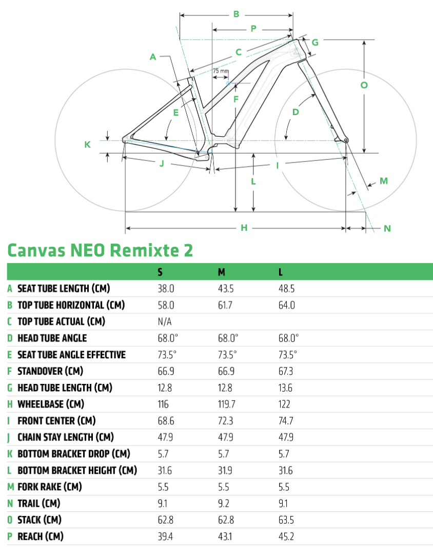 Cannondale Canvas Neo 2 Remixte geometry