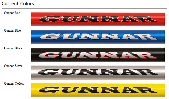 The standard colors for Gunnar Bikes.