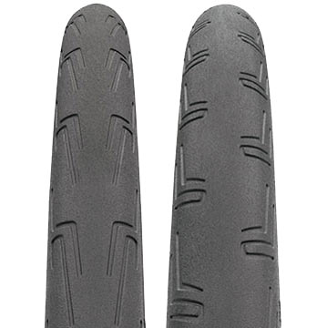 The tread patterns of the Continental Attack and Force tires.