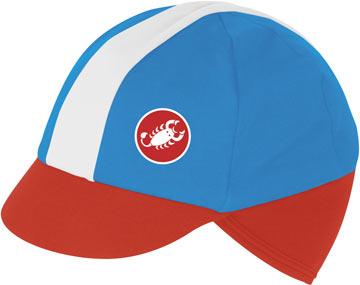 Castelli's Risvolto Winter Cap in Cyan/Red/White.