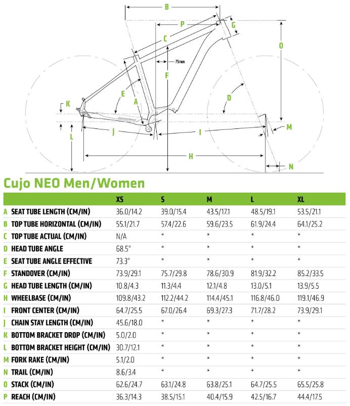Cannondale Cujo Neo geometry chart