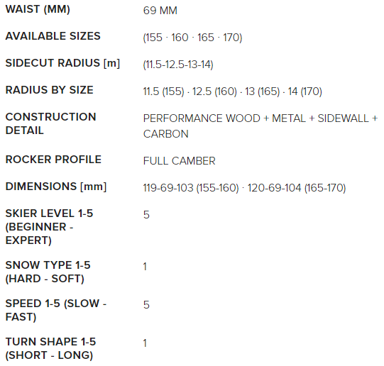 Nordica Dobermann SLR RB dimensions