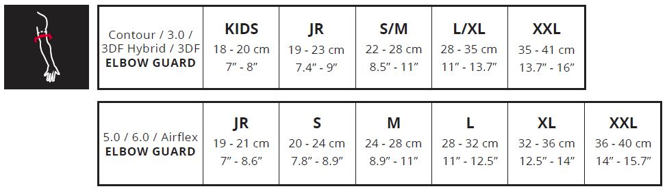 Leatt elbow guards sizing chart