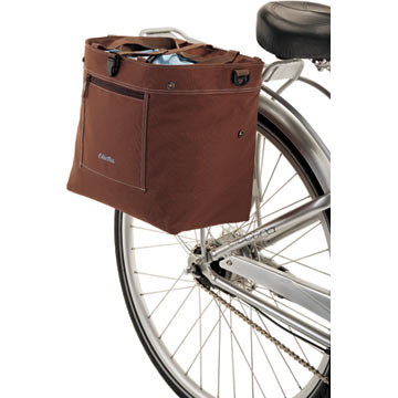 Electra's Expandable Tote Bag mounted on a bicycle.