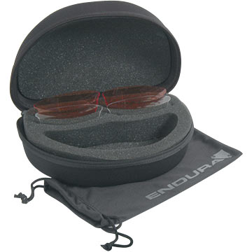 Endura's Stingray Sunglasses come with a hard case, microfiber bag and spare lenses.