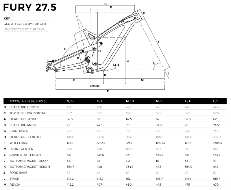 GT Fury Carbon geometry chart