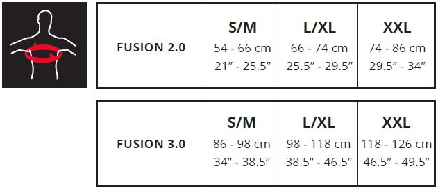 Leatt Fusion sizing chart
