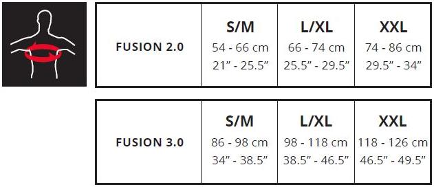 Leatt Fusion sizing chart