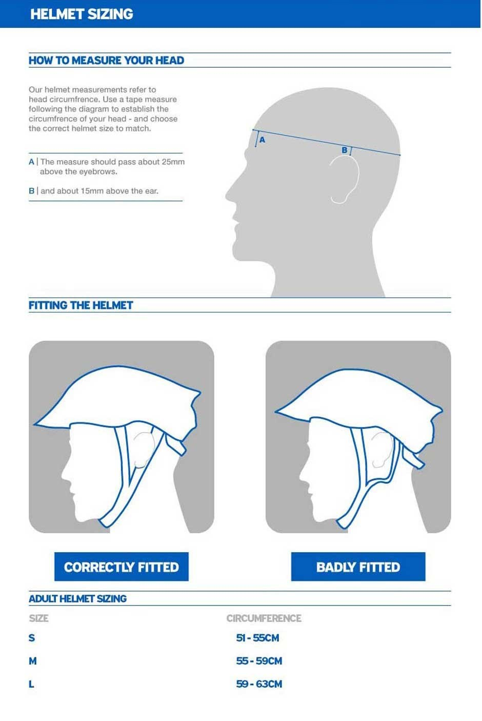 Giant Strive Helmet MIPS sizing chart