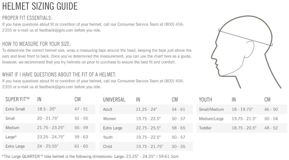 Giro Helmets sizing chart