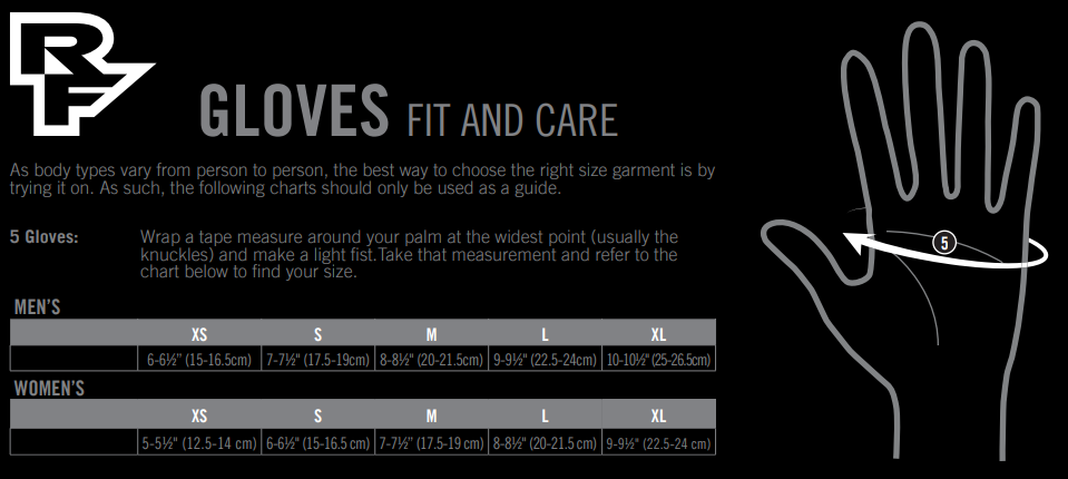 Race Face gloves sizing chart