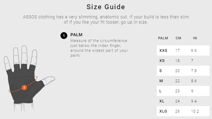Assos Glove sizing chart
