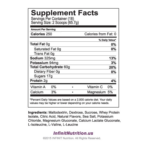 Infinit :Go Far For Women nutritional information
