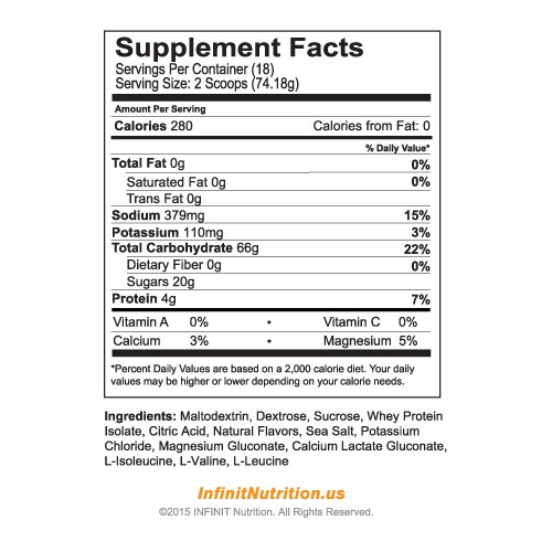 Infinit :Go Far nutritional information