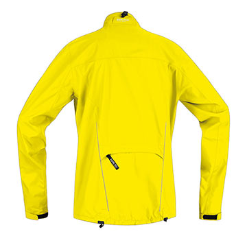 Back view of the Gore Path Jacket in Lemon.